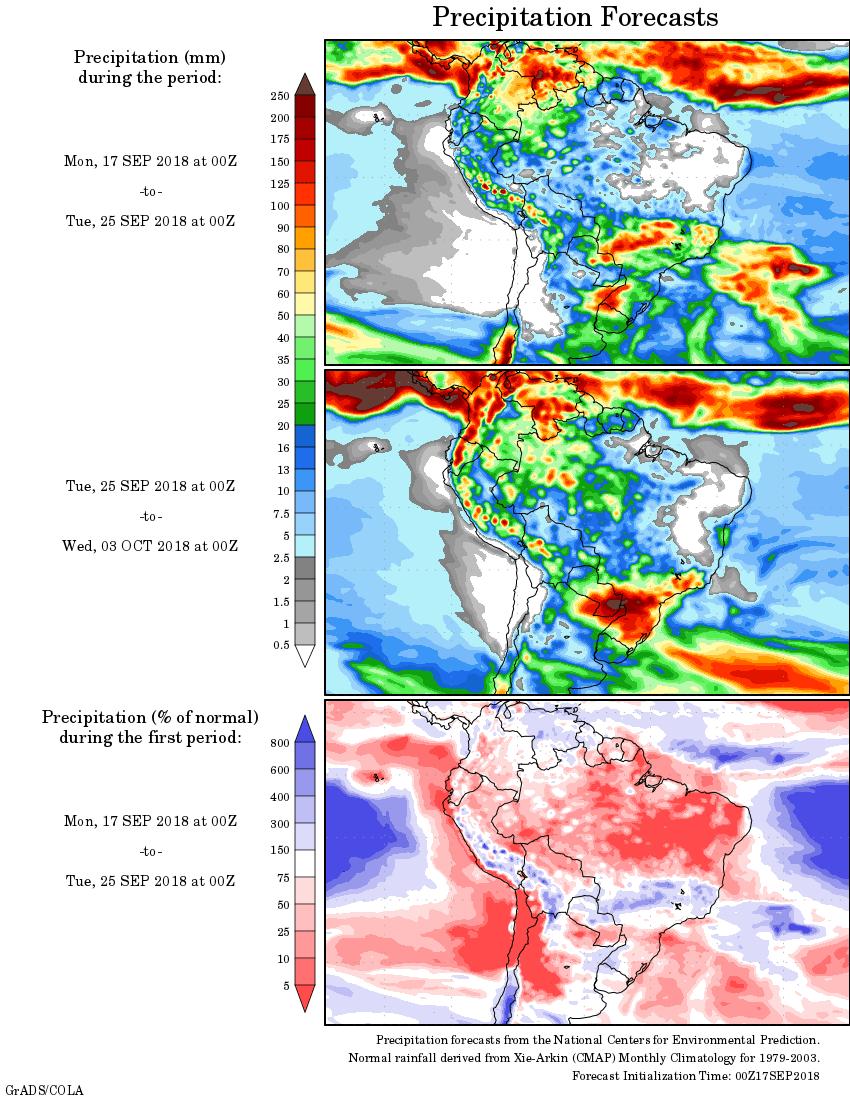 Mapa com a precipitação acumulada para o período de 17 de setembro até 03 de outubro - Fonte: National Centers for Environmental Prediction/NOAA