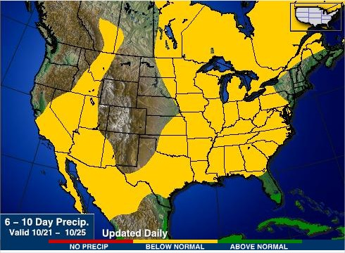 Chuvas nos EUA de 21 a 25 de outubro - Fonte: AgWeb