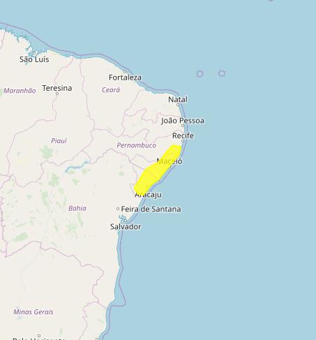 Mapa das áreas com alerta de acumulado de chuva nesta 4ª feira - Fonte: Inmet