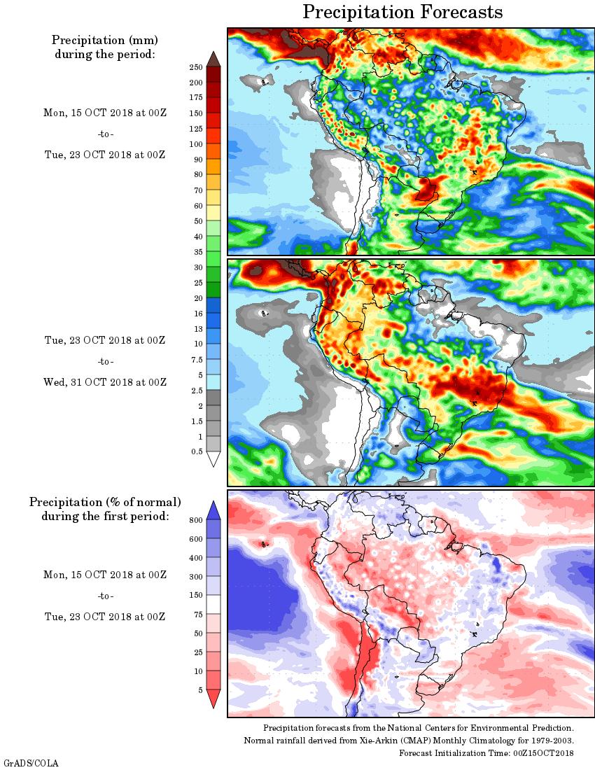 Mapa com a precipitação acumulada para o período de 15 de outubro até 23 de outubro - Fonte: National Centers for Environmental Prediction/NOAA