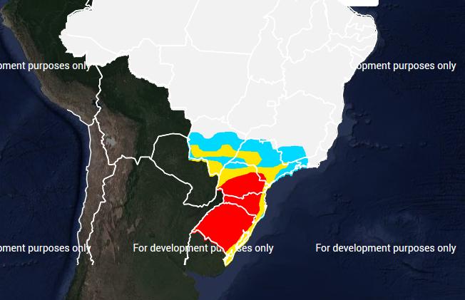 Mapa das áreas com previsão de geada no dia 06 de julho - Fonte: Inmet