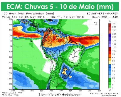 Mapa com previsão estendida para todo o Brasil (5 até 10 de maio) - Fonte: AgResource Mercosul