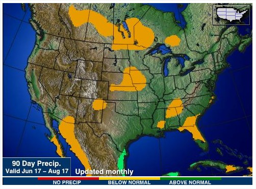 Chuvas nos EUA - Junho a Agosto 2017