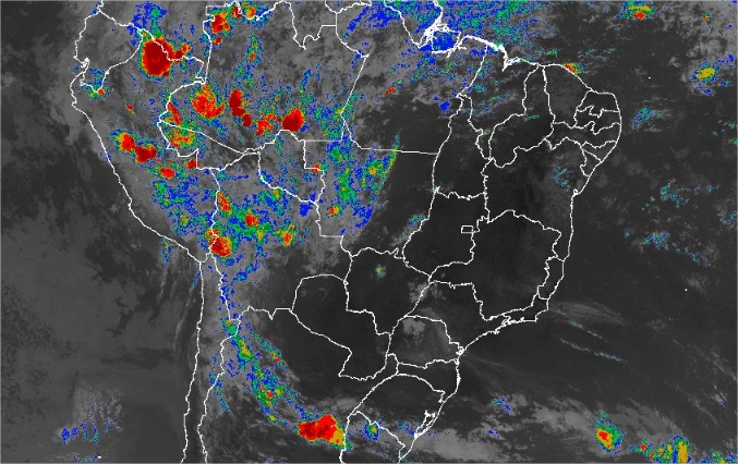 Imagem de satélite de todo o Brasil nesta quinta-feira (31) - Fonte: Inmet