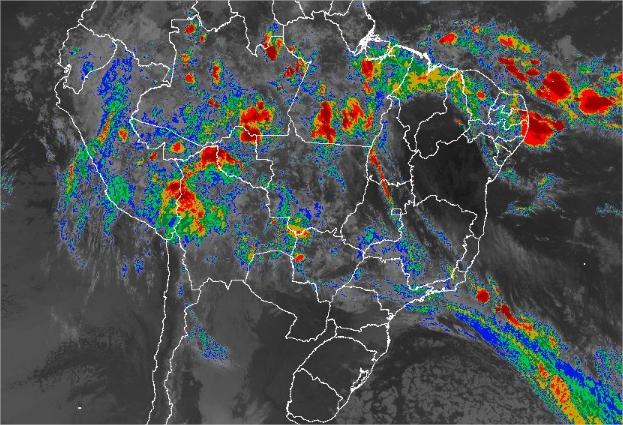 Imagem de satélite de todo o Brasil nesta quarta-feira (13) - Fonte: Inmet