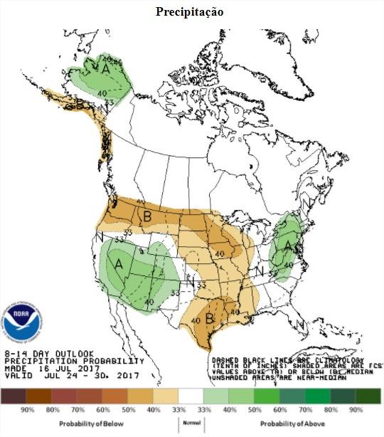 Precipitações previstas nos EUA nos próximos 8 a 14 dias - Fonte: NOAA