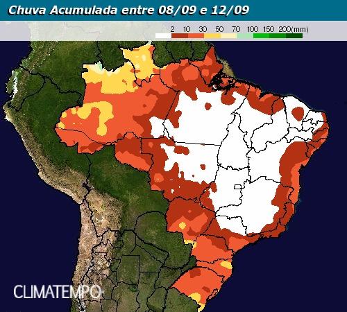 Chuva acumulada entre 8 e 12 de setembro