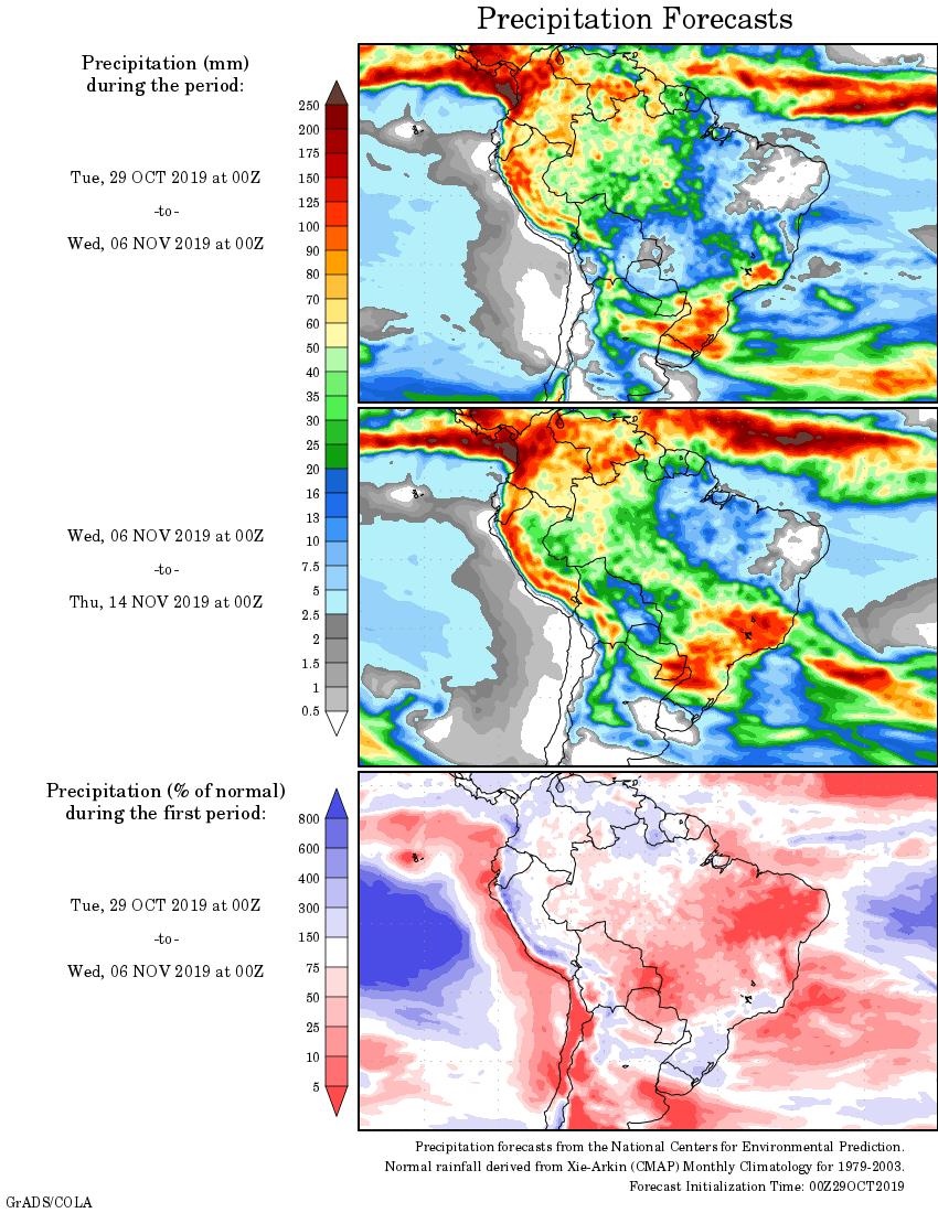 Mapa com a tendência de precipitação acumulada para o período de 29 de outubro até 14 de novembro - Fonte: National Centers for Environmental Prediction/NOAA