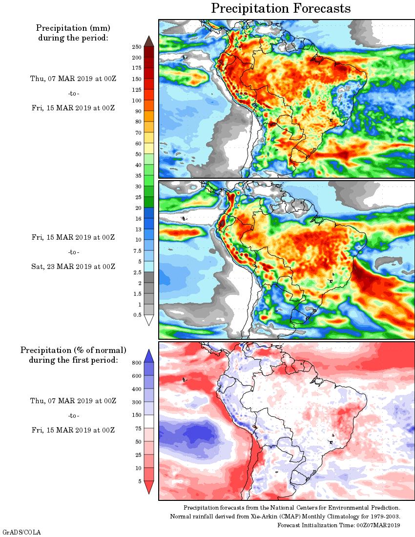 Mapa com a tendência de precipitação acumulada para o período de 07 de março até 23 de março - Fonte: National Centers for Environmental Prediction/NOAA