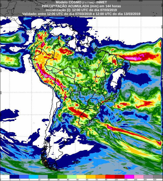 Mapa com a previsão de precipitação acumulada dos próximos 7 dias - Fonte: Inmet