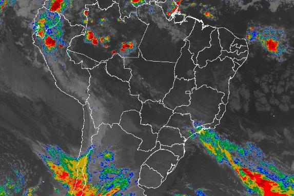 Imagem de satélite de todo o Brasil nesta terça-feira (28) - Fonte: Inmet