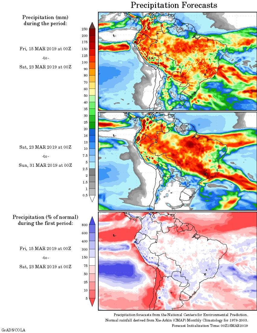 Mapa com a tendência de precipitação acumulada para o período de 15 de março até 31 de março - Fonte: National Centers for Environmental Prediction/NOAA