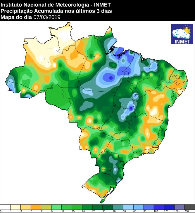 Mapa de precipitação acumulada dos últimos 3 dias no Brasil: Fonte: Inmet