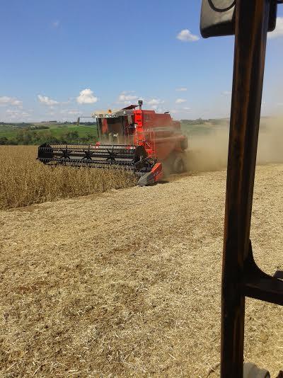 Imagem do dia - Colheita da soja na propriedade de Evandro Merchiori, em Dr. Maurício Cardoso (RS). Envio de Saulo Bortolin