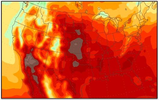 Temperaturas nos EUA de 19 a 27 de julho: Fonte: George Mason University
