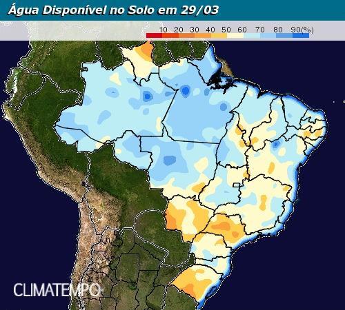 Mapa de água disponível no solo em todo o Brasil até 29 de março - Fonte: Climatempo