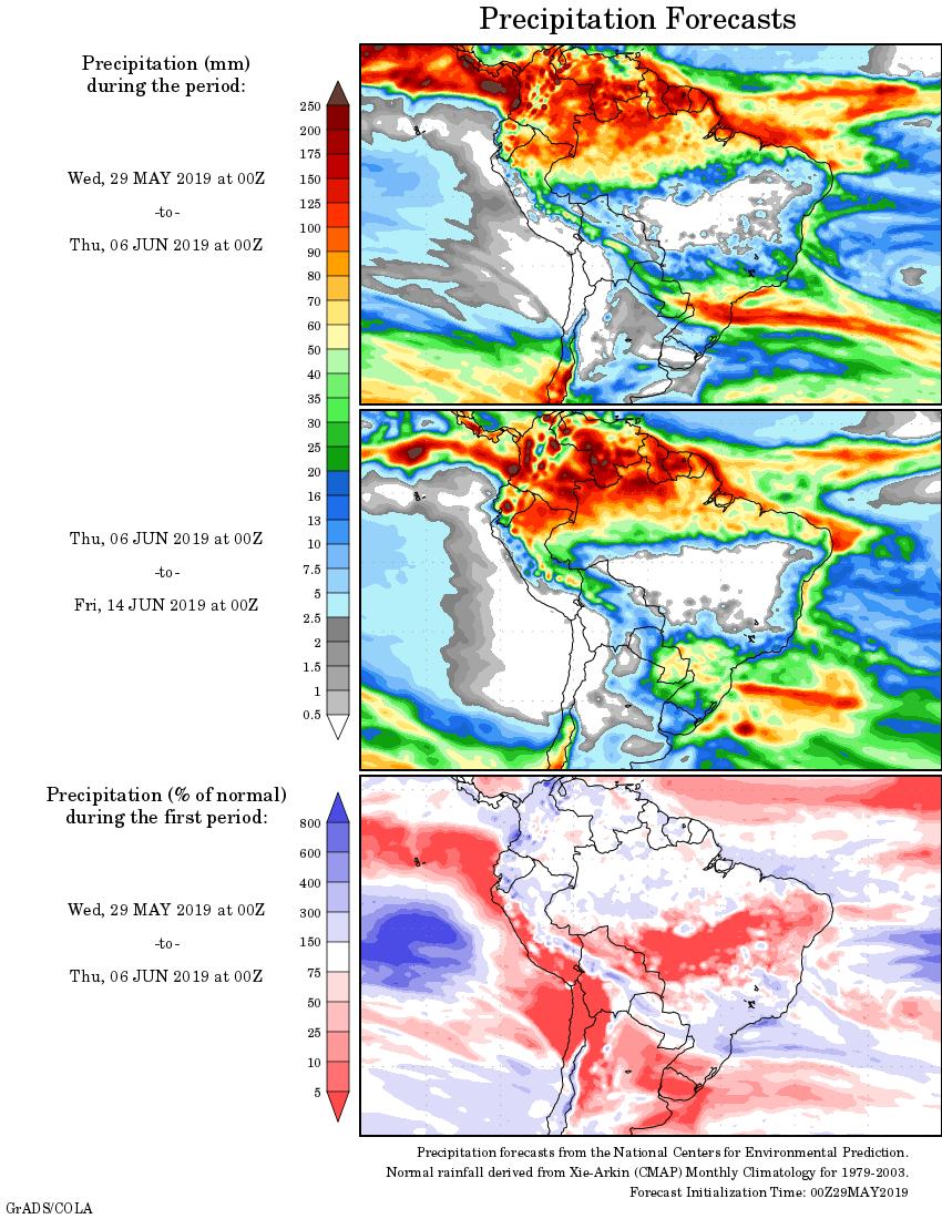 mapa com a tendência de precipitação acumulada para o período de 29 de maio até 14 de junho - Fonte: National Centers for Environmental Prediction/NOAA