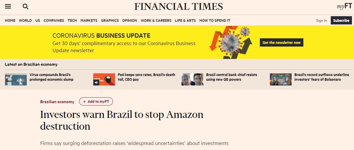Ameaça aos investimentos do BR - FT
