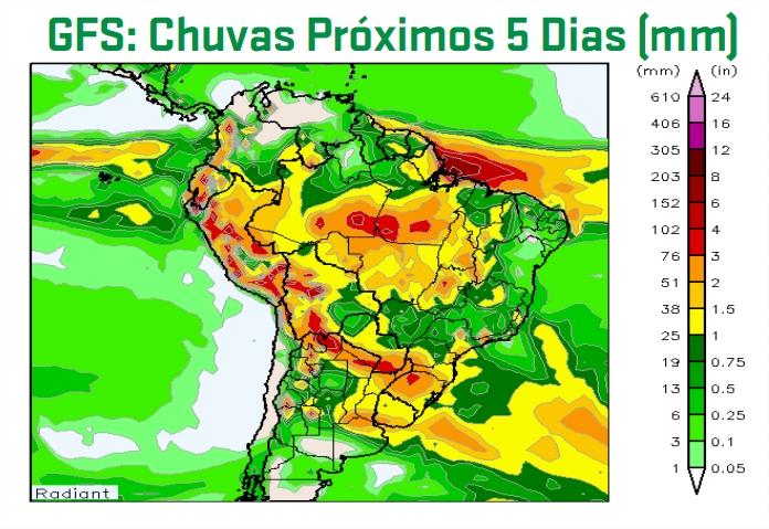 Mapa de precipitação acumulada do GFS para os próximos 5 dias - Fonte: ARC Mercosul (AgResource)