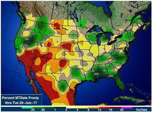 Chuvas nos EUA em junho 2017