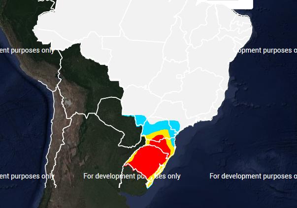 Mapa das áreas com previsão de geada no dia 05 de julho - Fonte: Inmet