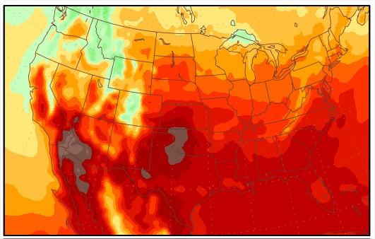 Temperaturas nos EUA de 11 a 17 de julho: Fonte: George Mason University