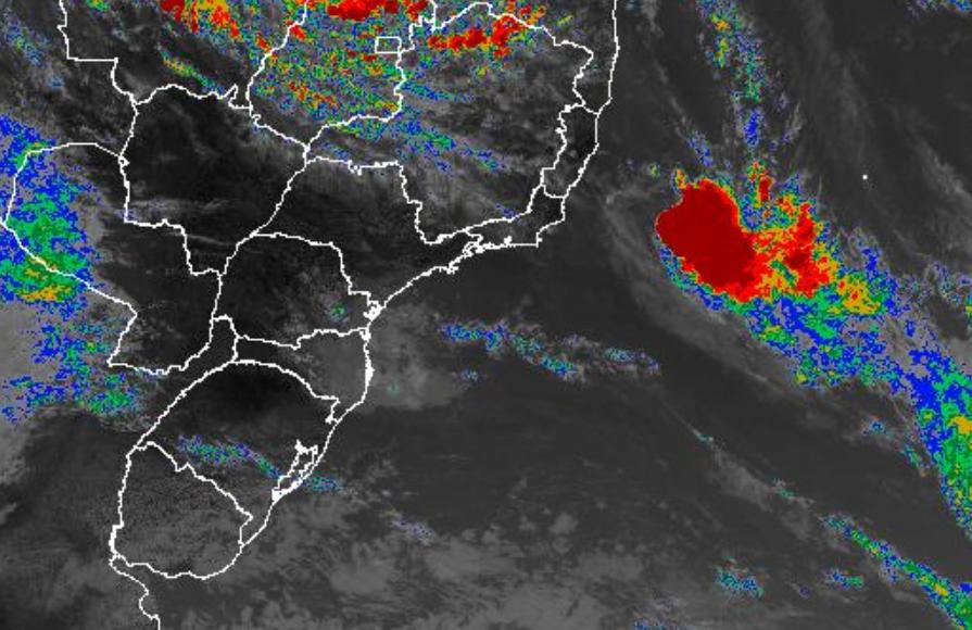 Imagem de satélite nesta quarta-feira (27) mostra localização da Iba - Fonte: Inmet