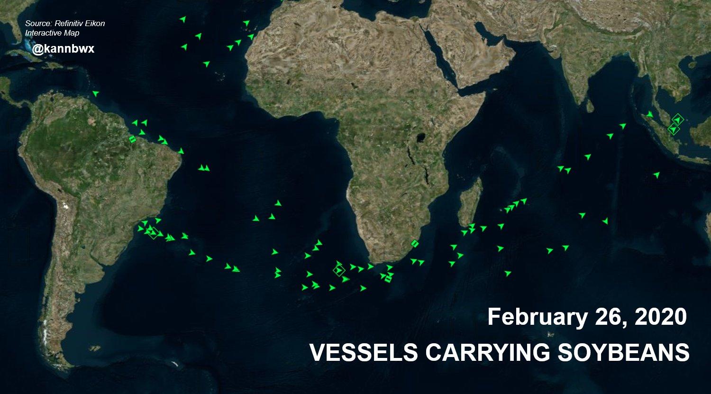 Comparativo das embarcações de soja no Brasil entre 2021 x 2020 - Fonte: Reuters