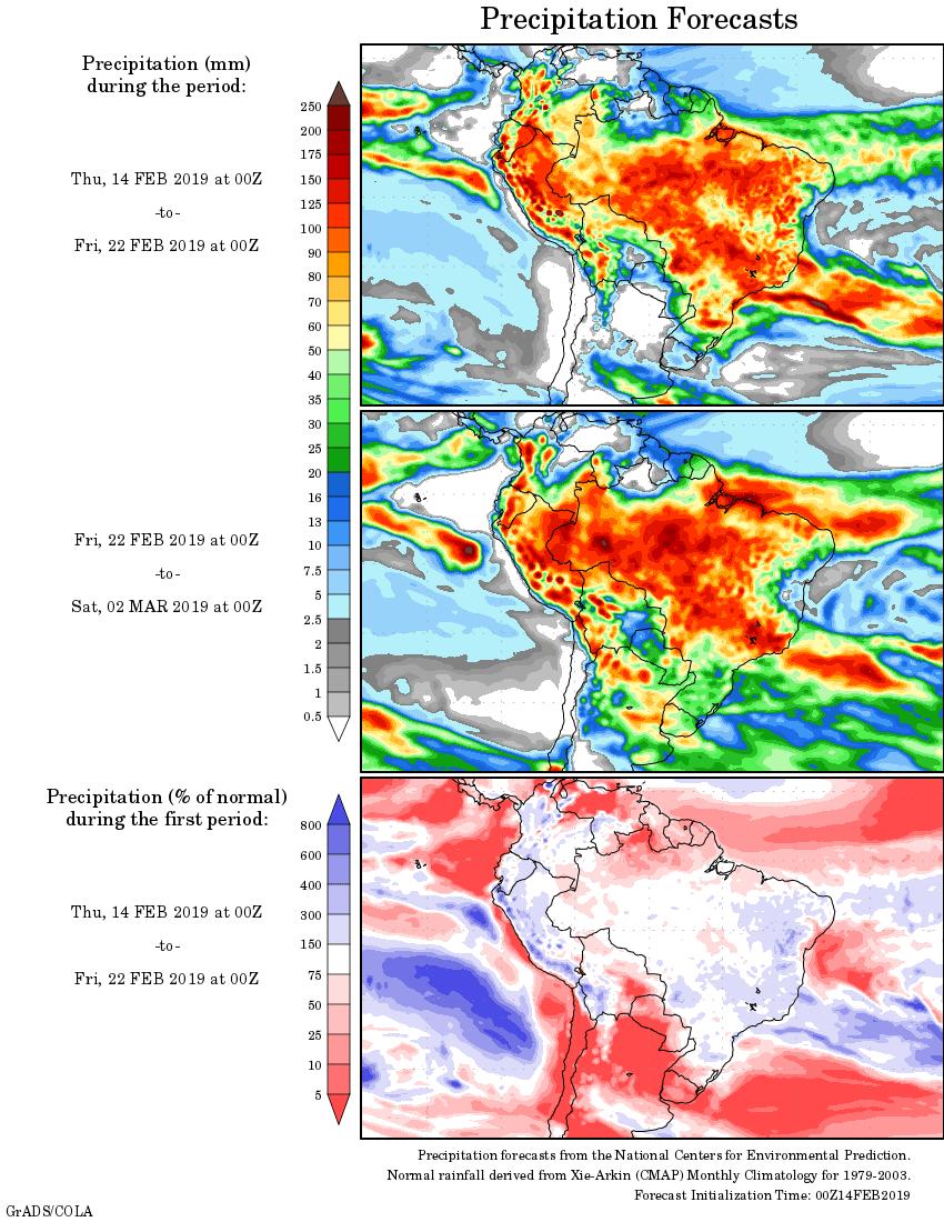 Mapa com a tendência de precipitação acumulada para o período de 14 de fevereiro até 02 de março - Fonte: National Centers for Environmental Prediction/NOAA