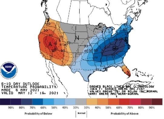 Clima nos EUA 6 a 10 dias - NOAA