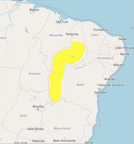 Mapa das áreas com previsão de acumulado de chuva nesta 2ª feira - Fonte: Inmet