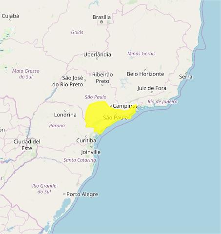 Mapa das áreas com alerta de chuvas intensas nesta 3ª feira - Fonte: Inmet