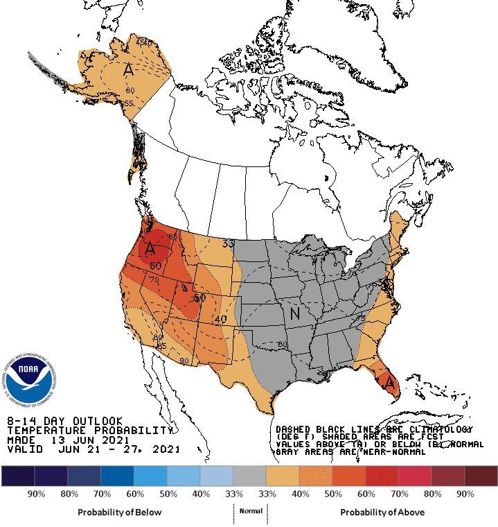 Clima nos EUA 8 a 14 dias - Fonte: NOAA