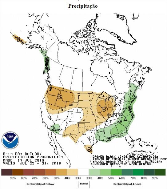 Chuvas previstas nos EUA entre os dias 25 a 31 de julho - Fonte: NOAA