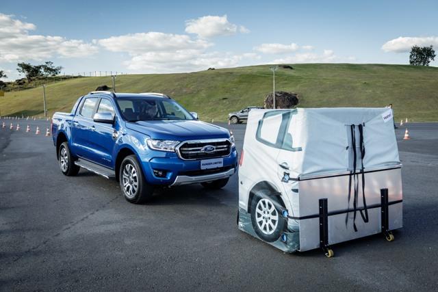 Teste do dispositivo de frenagem automática da Ford Ranger 2020  Foto: Divulgação/Ford Brasil