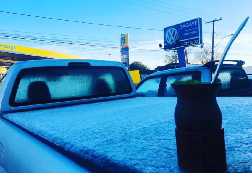 Amanhecer gelado nesta terça-feira (02) em São Gabriel (RS) - Foto: Reprodução/Redes sociais