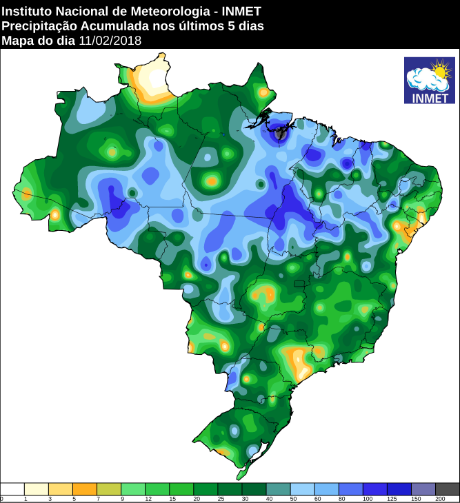 Mapa com a chuva acumulada nos últimos cinco dias - Fonte: Inmet