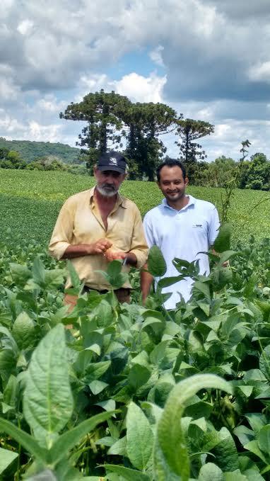Imagem do dia - Produtor Antônio Cândido e o engenheiro agrônomo Pedro Yano na lavoura de soja em Londrina (PR)