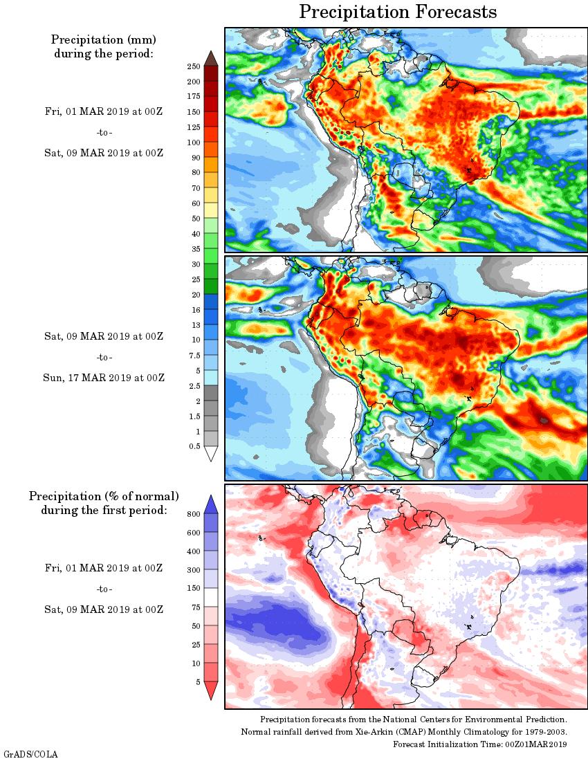 Mapa com a tendência de precipitação acumulada para o período de 1 de março até 17 de março - Fonte: National Centers for Environmental Prediction/NOAA