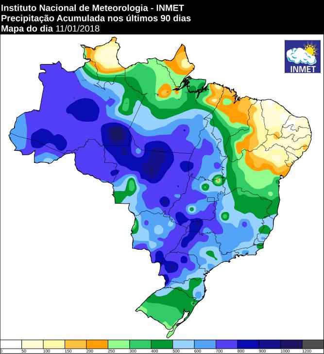 Precipitação acumulada nos últimos 90 dias em todo o Brasil - Fonte: Inmet