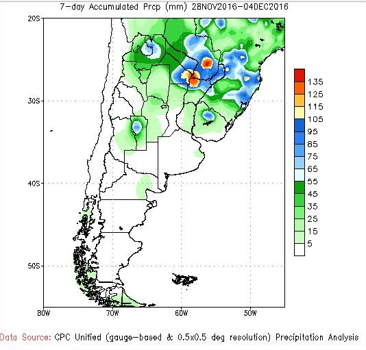 Previsão de Chuvas - Argentina - 7 Dias - Fonte: NOAA