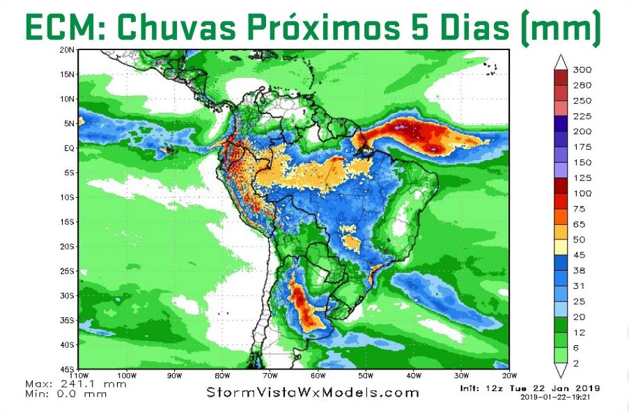 Mapa de previsão de precipitação acumulada para os próximos 5 dias em todo o Brasil - Fonte: ARC Mercosul (AgResource)