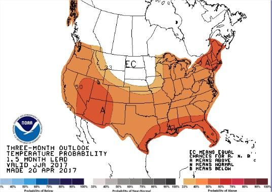 Temperaturas nos EUA - 3 meses