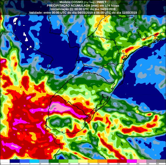 Mapa com a precipitação acumulada nos próximos 7 dias na região Sul - Fonte: Inmet