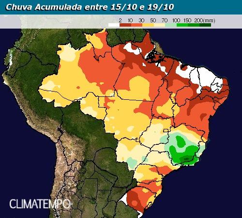 Chuva acumulada entre 15 e 19 de outubro