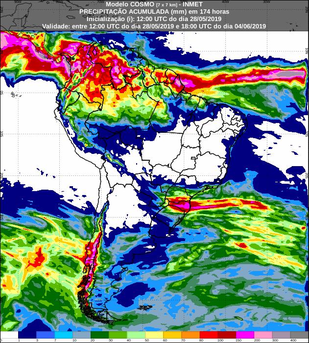 Mapa com a previsão de precipitação acumulada para os próximos sete dias - Fonte: Inmet