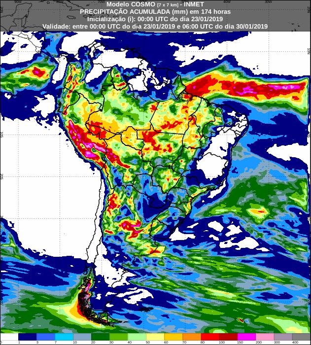 Mapa de previsão de precipitação acumulada para os próximos 7 dias em todo o Brasil - Fonte: Inmet