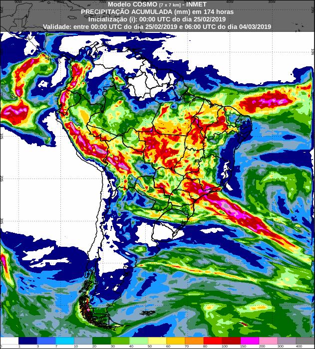 Mapa de previsão de precipitação acumulada nos próximos 7 dias em todo o Brasil - Fonte: Inmet