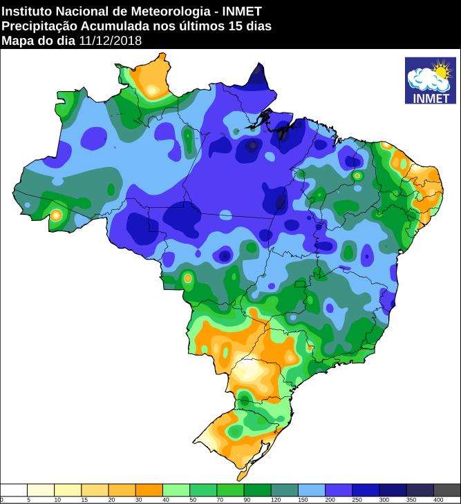 Mapa de precipitação acumulada nos últimos 15 dias em todo o Brasil - Fonte: Inmet