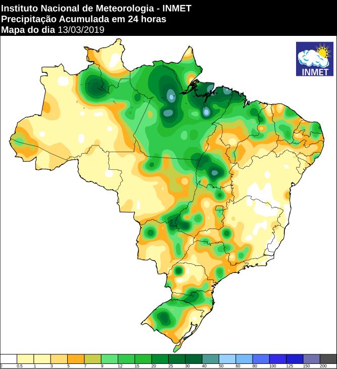 Mapa com a precipitação acumulada das últimas 24 horas no Brasil - Fonte: Inmet